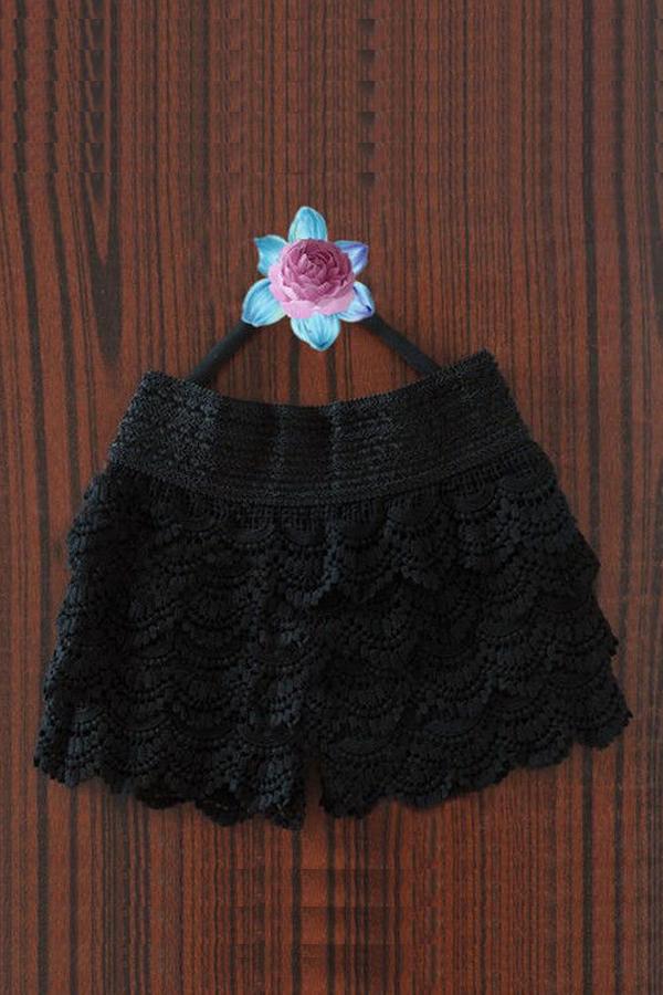 Fashion Women's Girls Sweet Cute Crochet Tiered Lace Shorts Skorts Short Pants