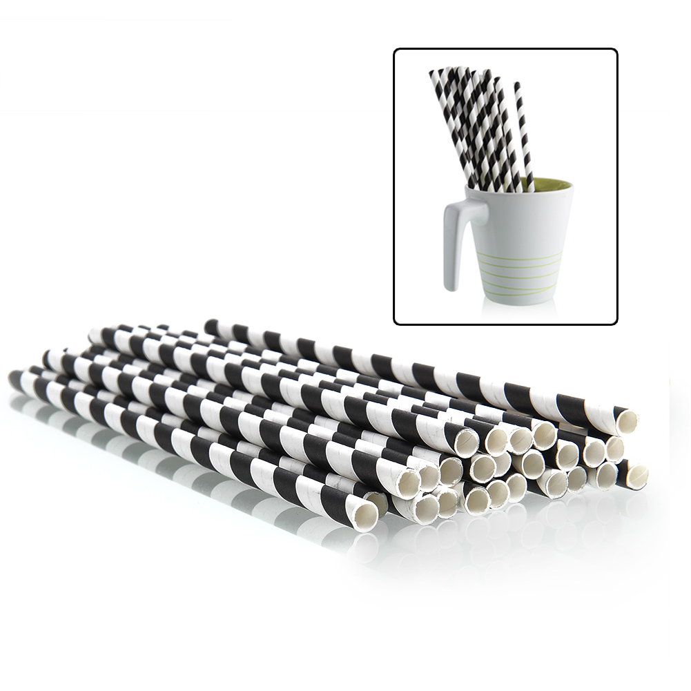 25pcs Striped Paper Drinking Straws Party Festival Supply Biodegradable