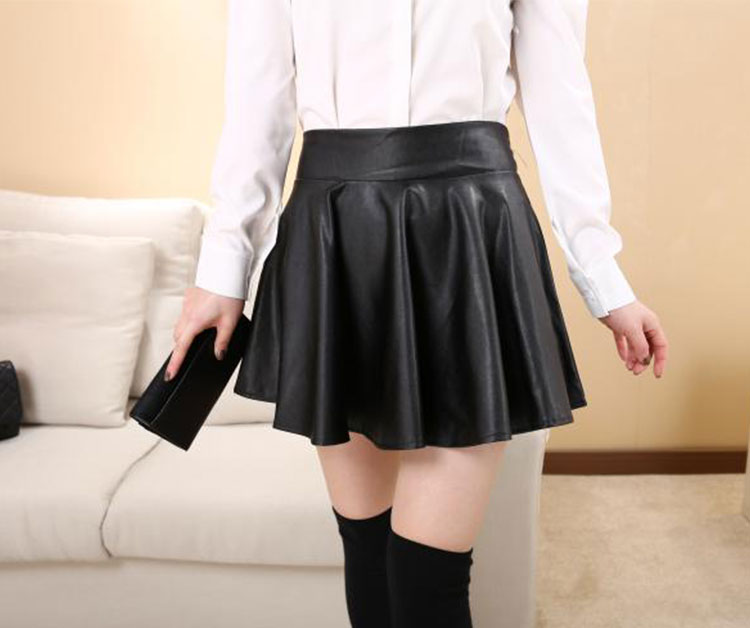 Short Sexy Womens Black Red Faux Leather Mini Skirt High Waist ...