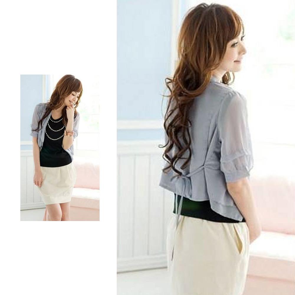 Womens Fashion 3/4 Sleeves Chiffon Short Cardigan Coat Jaket Cape Shirt