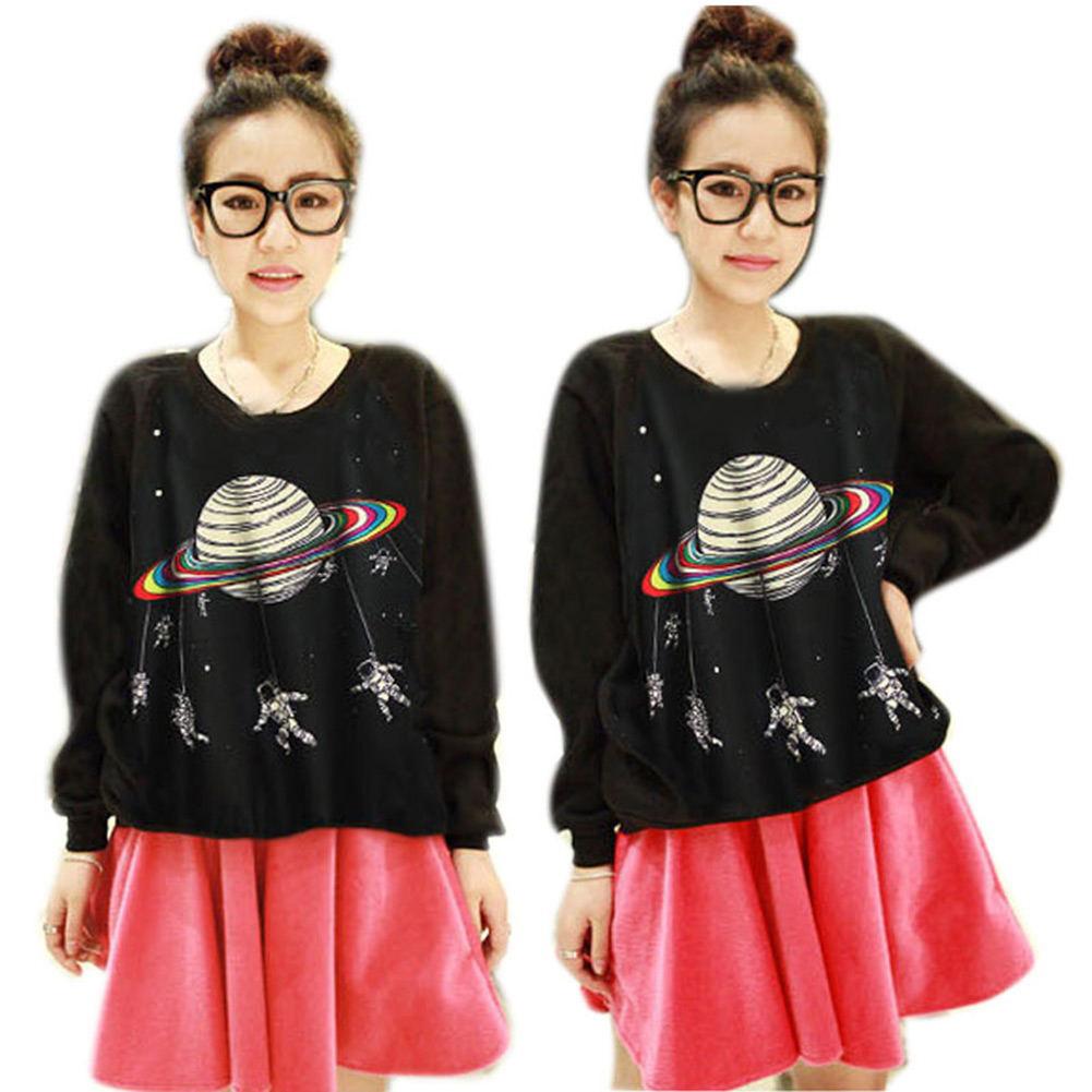 New Women's 3D Printed Space Animal Crew Neck Hoodie T-Shirt Sweater Sweatshirt