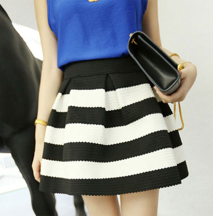 Hot Fashion Vogue Scalloped Stripes Skirt Women Girls Skirt black ...
