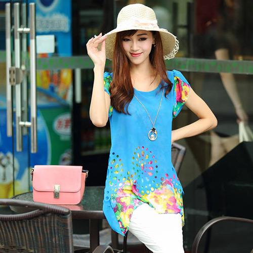 Fashion Women Summer Short Sleeve Shirt Blouse Casual Chiffon Long Loose Tops