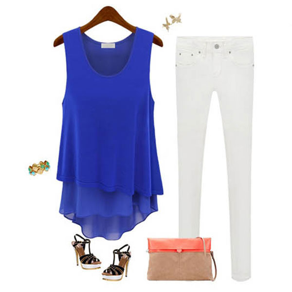 Hot SUMMER WOMEN LADIES SLEEVELESS BLOUSE CASUAL CHIFFON LONG VEST T-SHIRT Tee