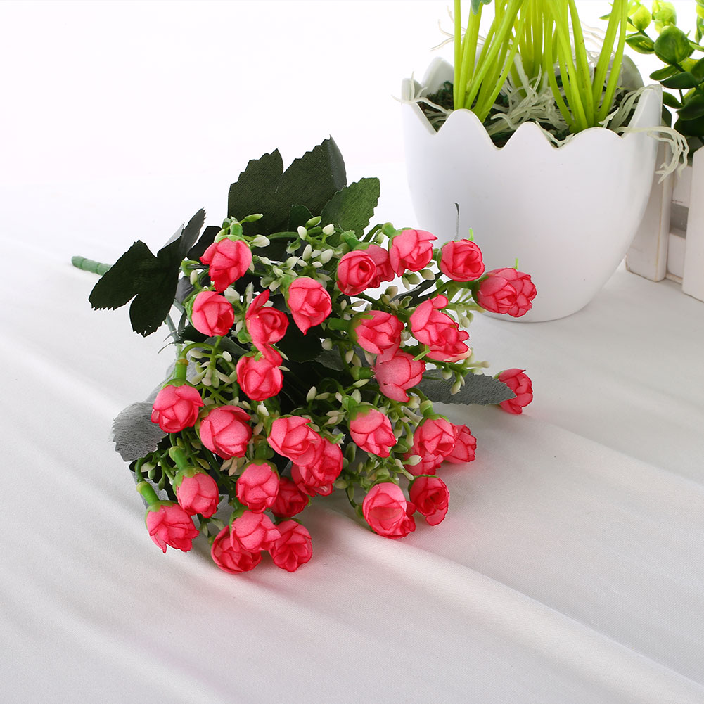 36 heads mini roses artificial silk flowers wedding party for Artificial flowers decoration for home
