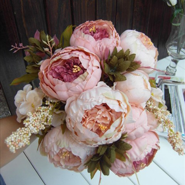 1 Bouquet Elegant Artificial Peony Flowers Fake Leaf Home Party Decor Decoration