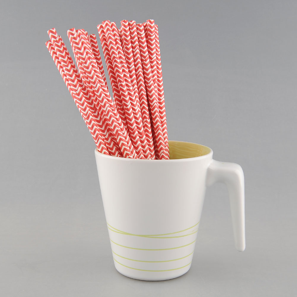 25 PCS Colorful Chevron Striped Paper Drinking Straws Wedding Birthday Prom