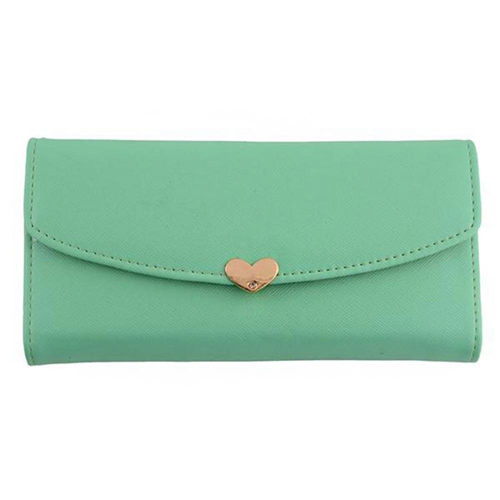 Hot Women's Button Leather Clutch Wallet Purse Card Lady Long Handbag Love Heart