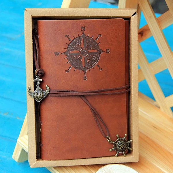 Vintage Pirate Design Retro Leather Cover Notebook Journal  For Travel Gift