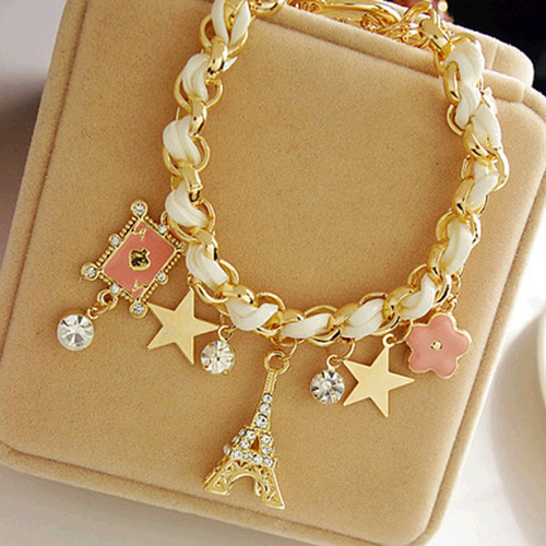 Fashion Charm Jewelry Multielement Gold Chain Leather Star Tower Bracelet