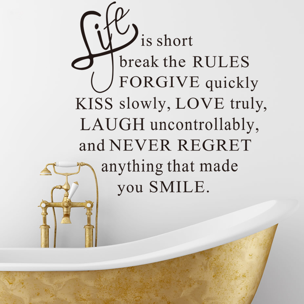 life is short words removable wall sticker murals home room decor image is loading life is short words removable wall sticker murals