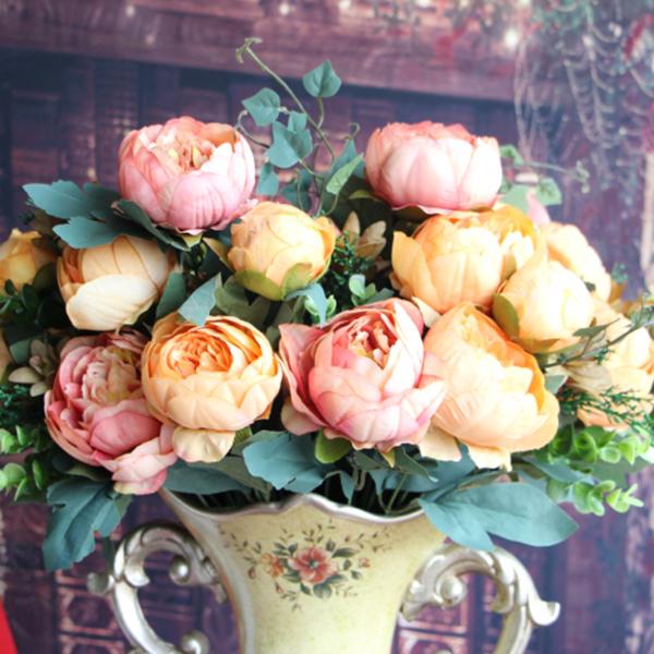 Artificial Peony Silk 12 Heads Flowers Bridal Bouquet Hydrangea Wedding Decor