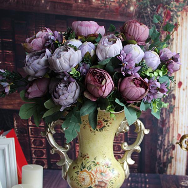 Diy Flower Bouquet Wedding: Artificial Peony Silk Flowers Bridal Hydrangea Decor DIY