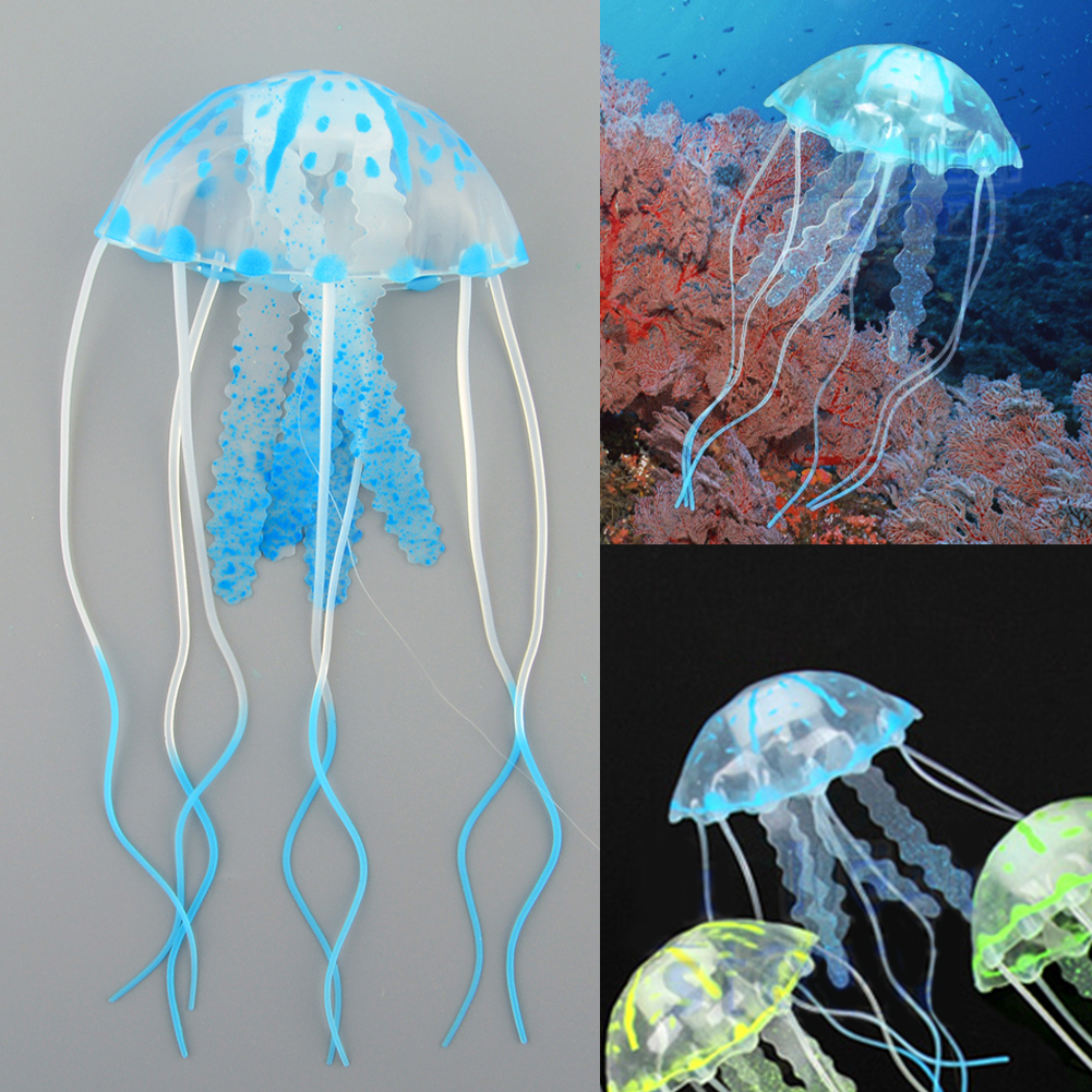 Artificial jellyfish fluorescent glowing effect fish tank for Aquarium jellyfish decoration