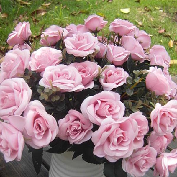 Artificial Rose Silk Flowers 12 Flower Head Home Wedding Garden Decor NEW