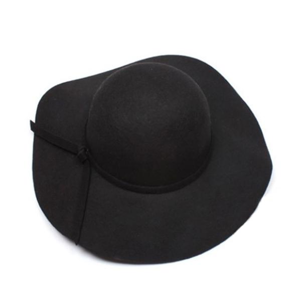 New Vintage Women's Wide Brim Wool Felt Bowler Fedora Hat Floppy Cloche Cap