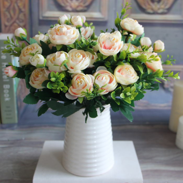 6 Branches Artificial Fake Peony Flower Arrangement Home