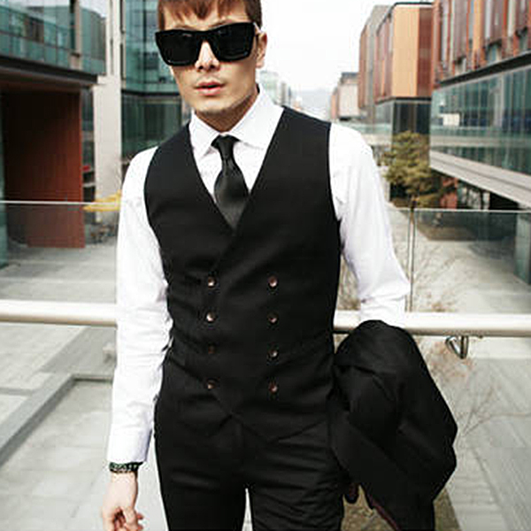 New Fashion Mens Double breasted Slim Fit Tuxedo Dress Vest Waistcoat