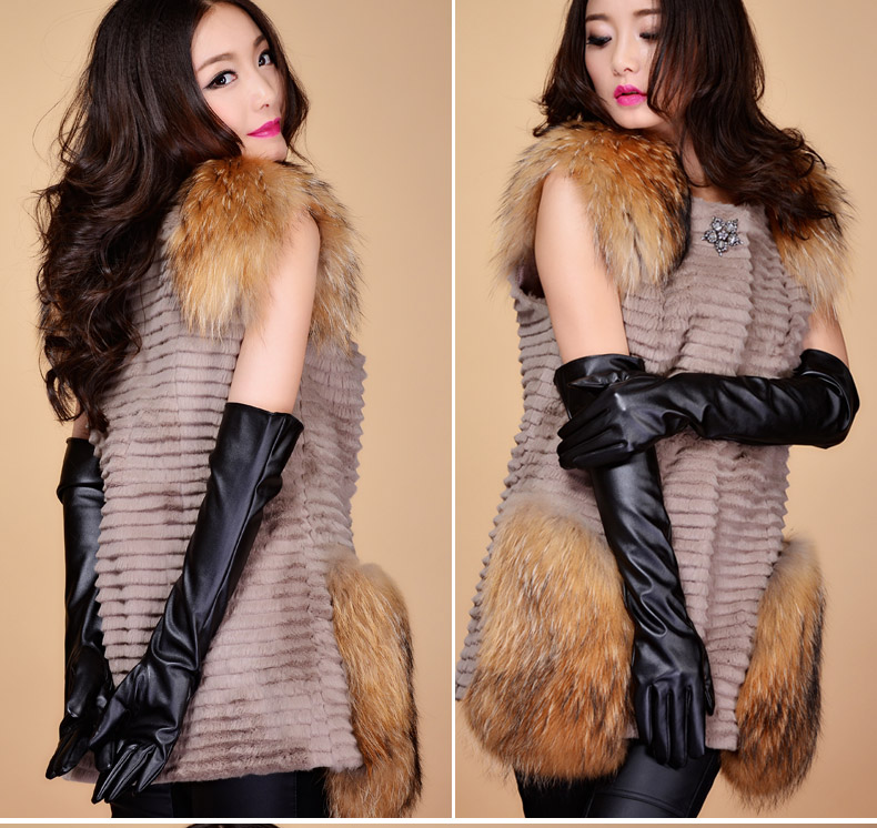New Womens Arm Long Genuine PU leather Warmer Evening Gloves Gift Mittens