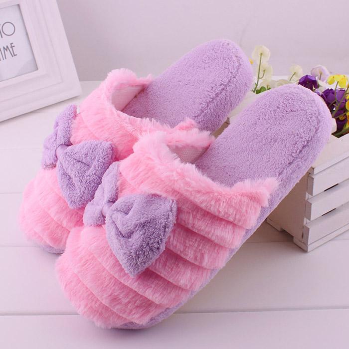 Cute Women Men Lovers Anti slip Slippers Bowknot Indoor Soft Warm Slippers
