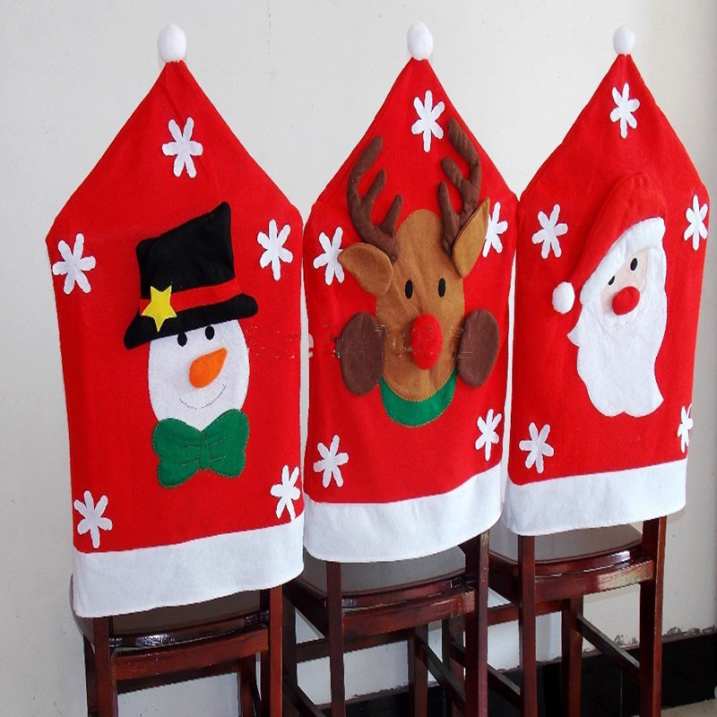 Santa Claus Elk Snowflake Chair Back Covers Christmas