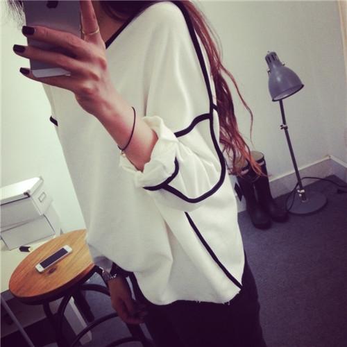 Fashion Womens Casual Tops Hem Long Sleeve T-shirt Cotton OverSize Blouse