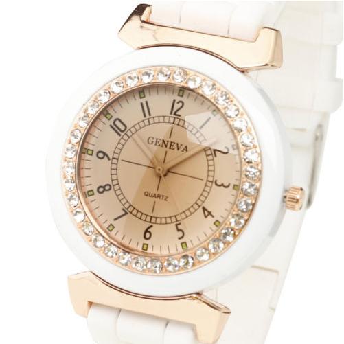 New Fashion Women's Lady Rhinestone Silicone Rubber Band Quartz Wrist Watch
