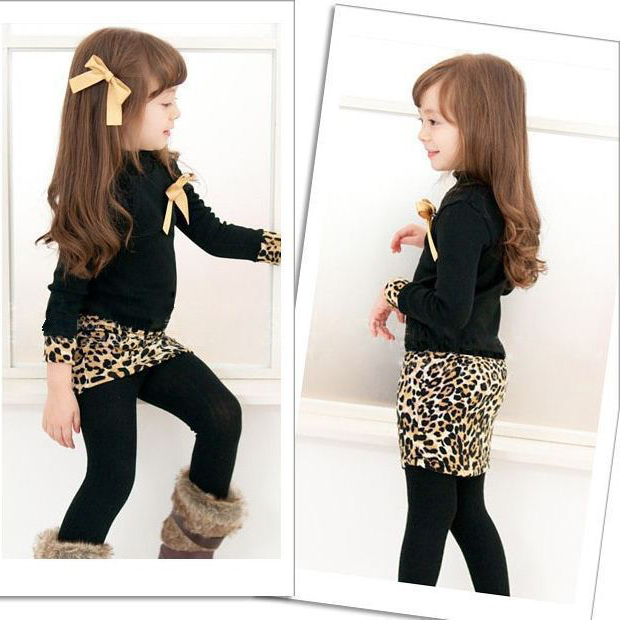 Korean Fashion Baby Kid Children Girl Stand Warm Leapard Bowknot Dress