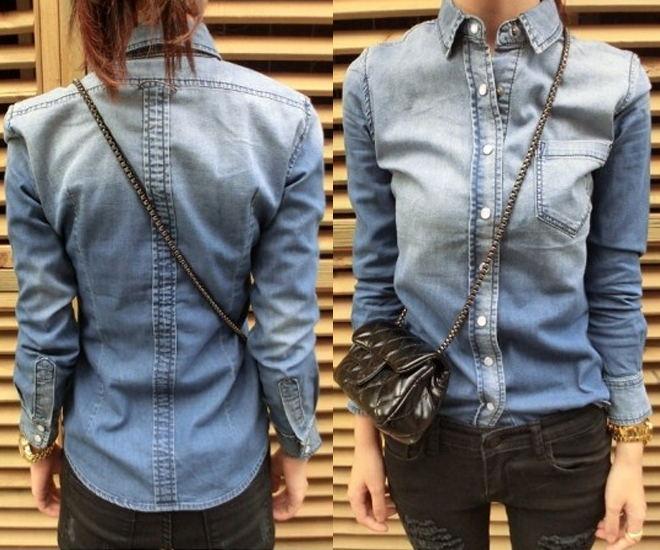 Korean Women Cardigan Gradient Denim Long Sleeves Dress Shirt T-Shirt Top