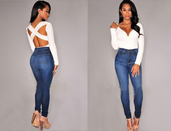 Women V-neck Tops Sexy Tee Long Sleeve Backless Slim T-shirt Jumpsuit