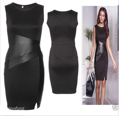New Fashion Women Girls PU Leather Mini Dress Sleeveless Split Black Dress