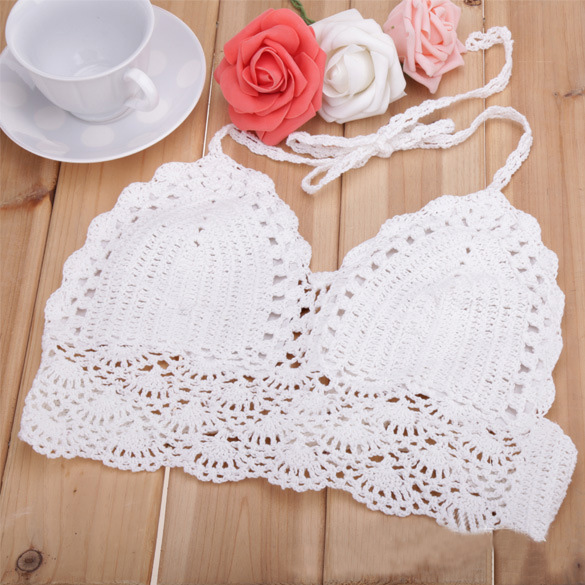 New Women Knit Crochet Exquisite Sexy Bustier Strap Deep-V Tank Camisole Tops
