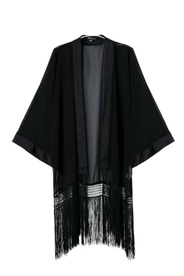 Women Batwing Tassel Long Sleeve kimonos T-Shirt Tee Tops Cardigan Coat Black