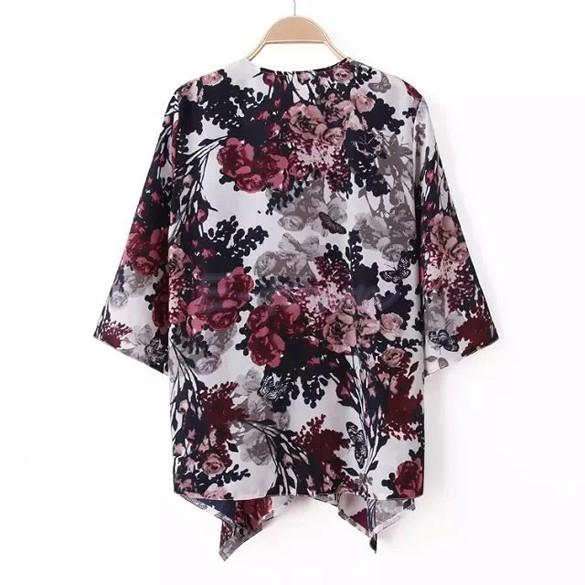Women Retro Floral Boho Kimono Crochet Tops Cardigan Sunscreen Jacket Shirt