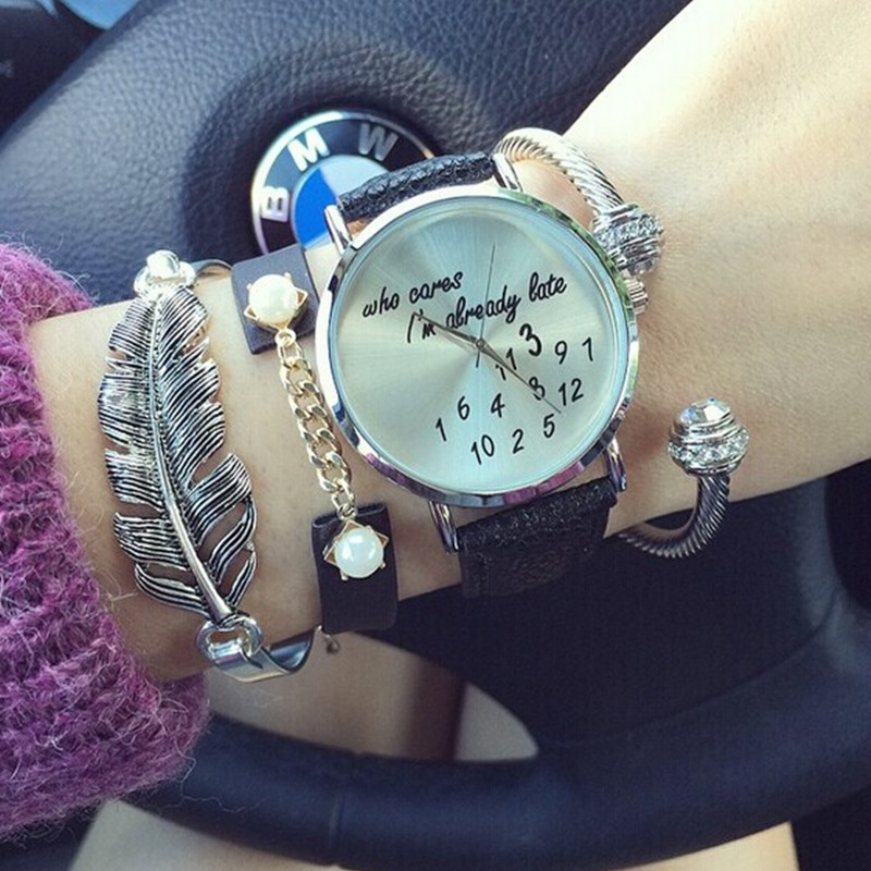 I'm already late Lady women's men's Leather Fashion Quatz Wrist Watch