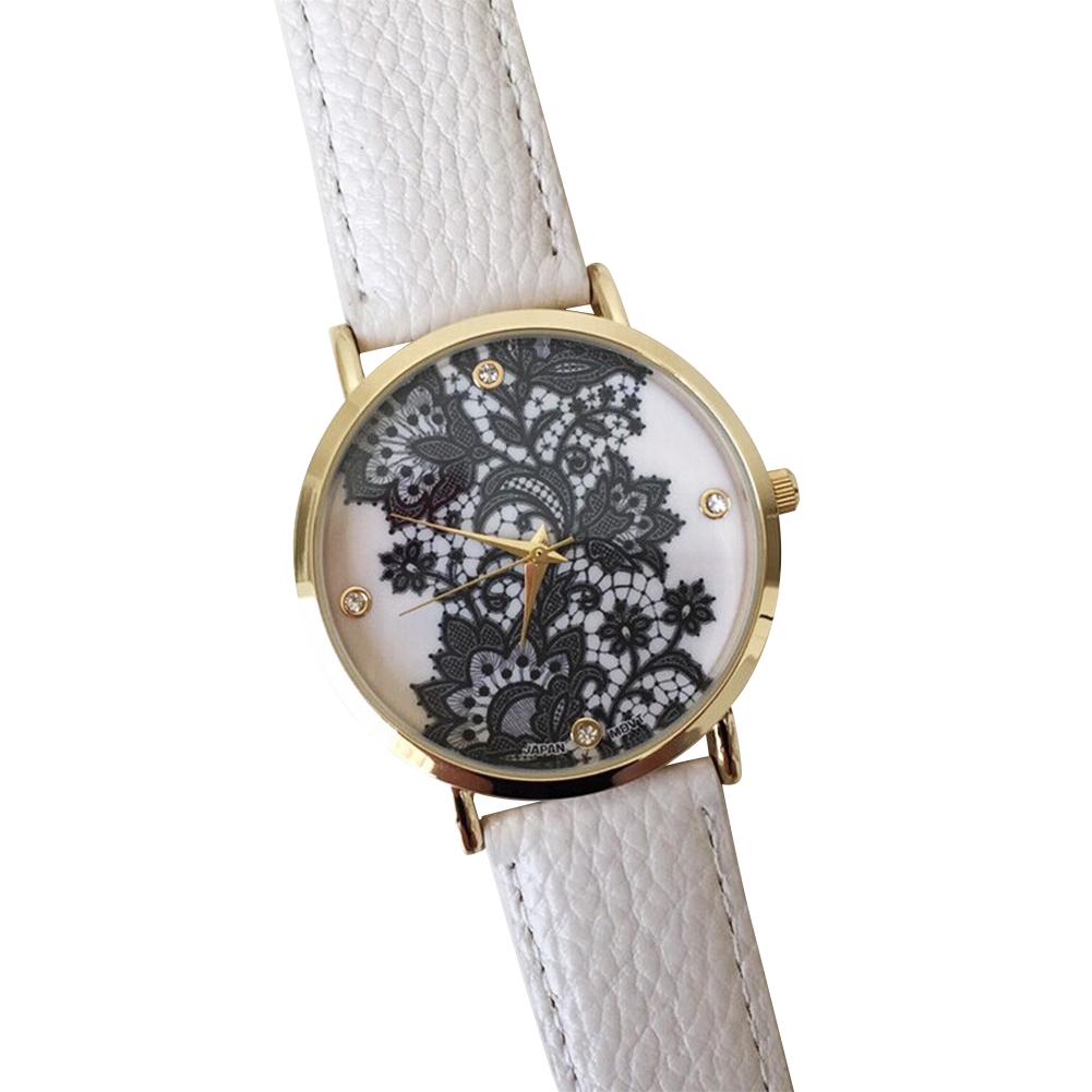 Lace Print Light Women's alloy Leather Strap Band Bracelet Watches White/Black