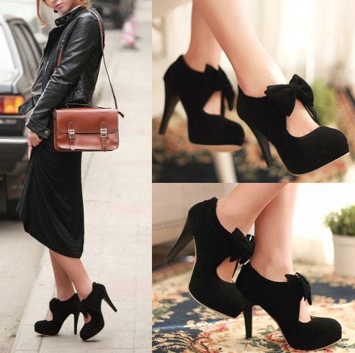 New Women Bowknot Suede Platform Pump Zip Up Party Stiletto High Heel Shoes