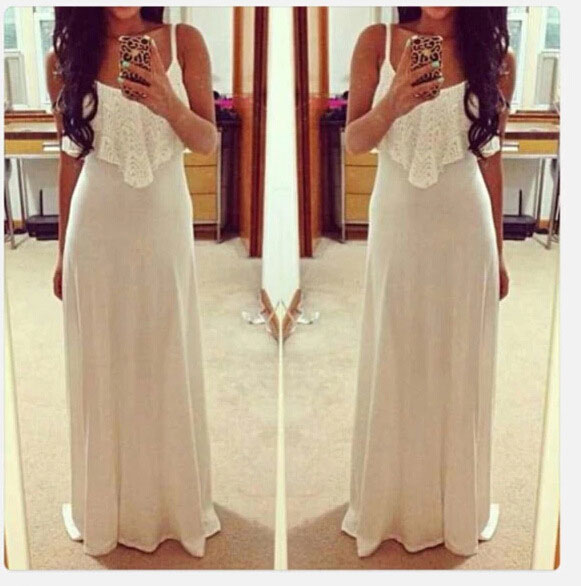 New Women Lady Solid Loose Drape Lace Sleeveless Cocktail Long Maxi Dress