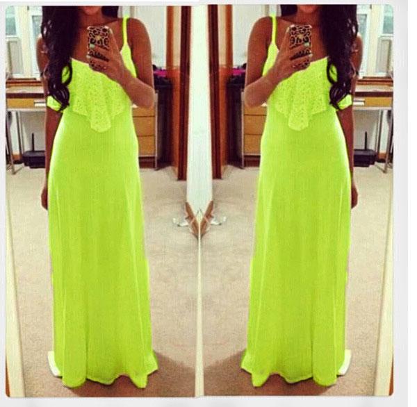 New Fashion Women Loose Casual Drape Lace Slim Sleeveless Long Maxi Dress
