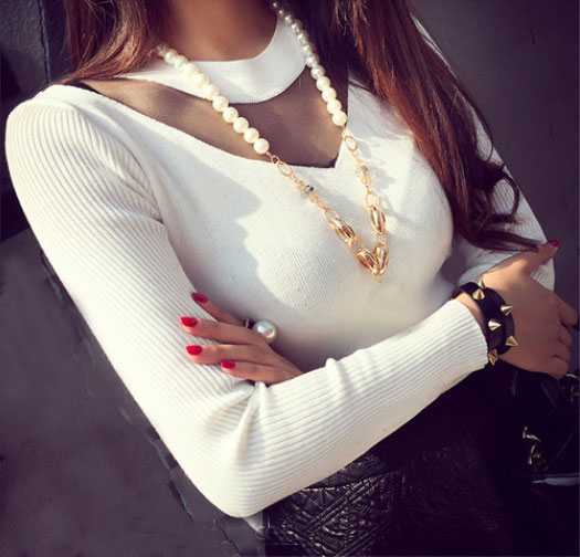 New Women Knit Long Sleeve Bodycon O Neck Splicing Veil Tops Jumper Sweater