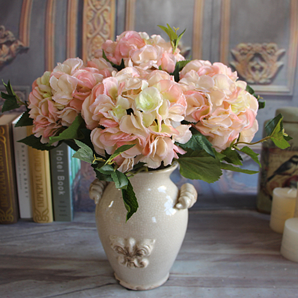 Rose Floral Bouquet Artificial Silk Fake Peony Flower Arrange Hydrangea Decor