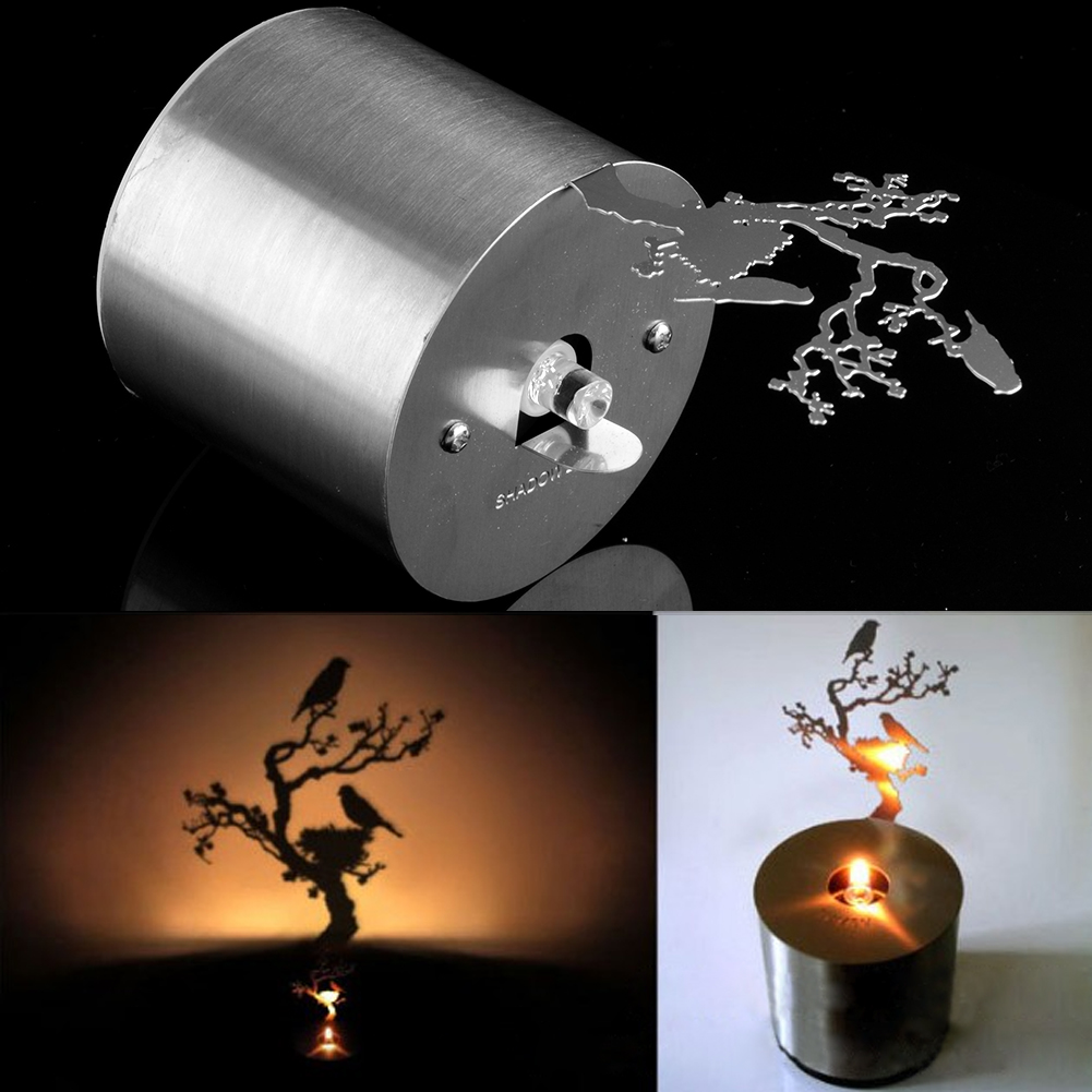 Romantic Led Shadow Projector Twinkle Candle Timed Night