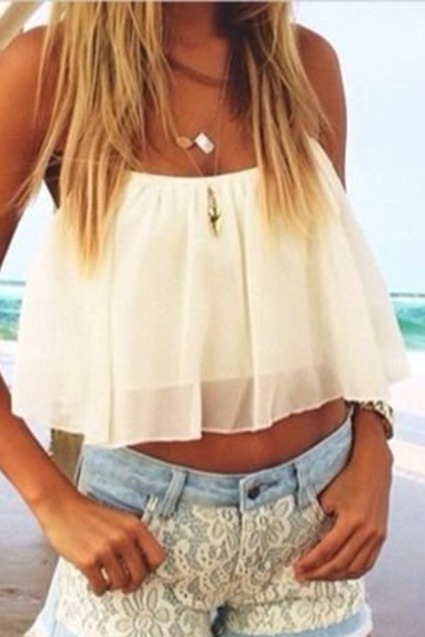 Women Slim Fit Sleeveless Backless Chiffon O Neck Layers T-Shirt Shirt Crop Top