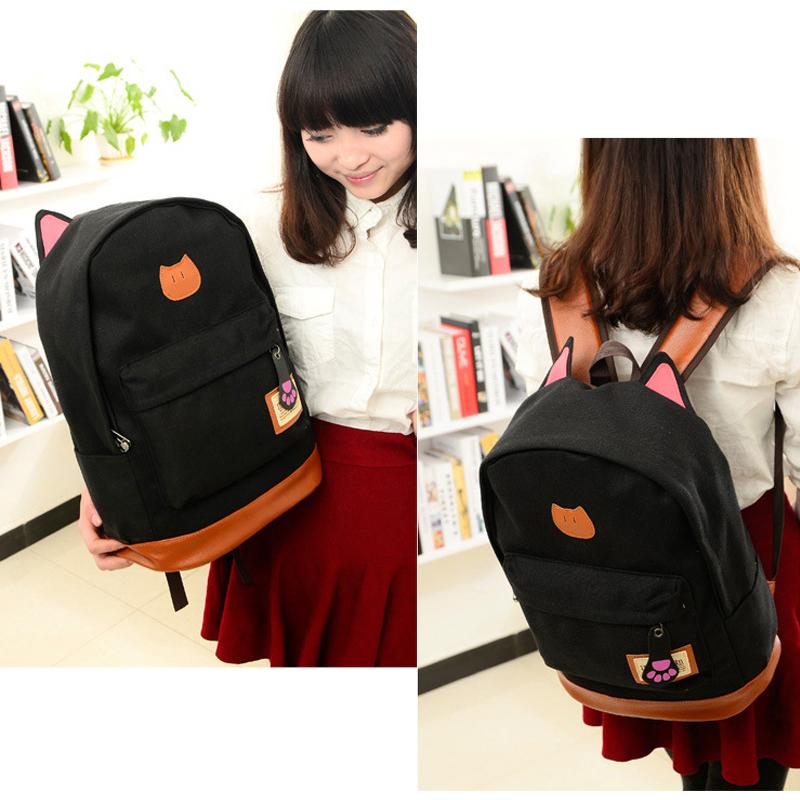Women Fashion Girl Canvas Lovely Sweet Backpack Camping Cat Vogue Bookbag Bag