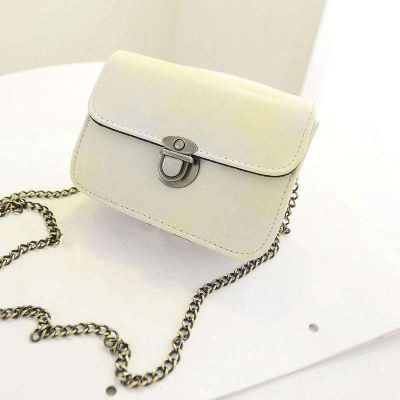 Women Chain Clutch PU Leather Casual Sweet Handbag Messenger Shoulder Bag