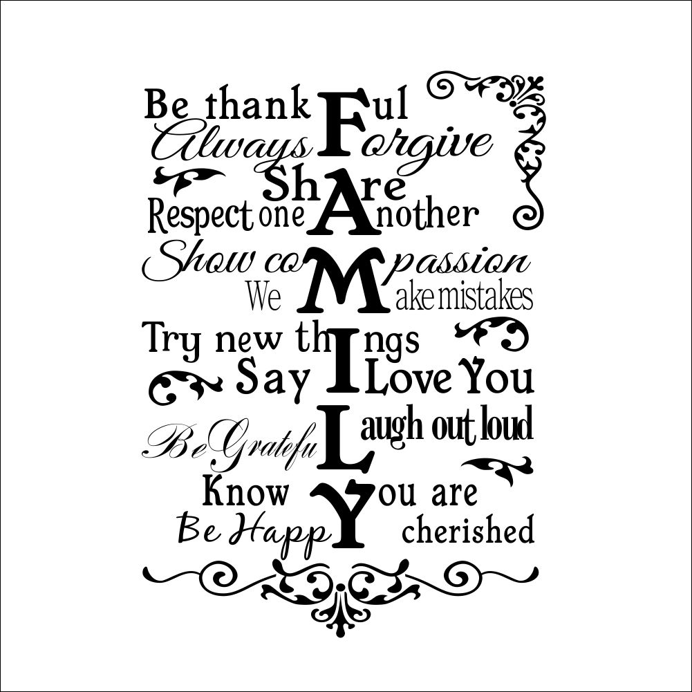 removable family rules quote wall stickers decals home