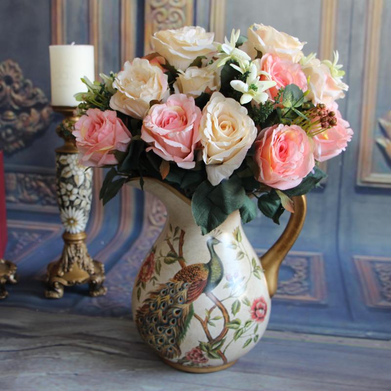 Milan Bouquet 11 Heads Wedding Rose Artificial Silk Flowers Bridal Arrangment