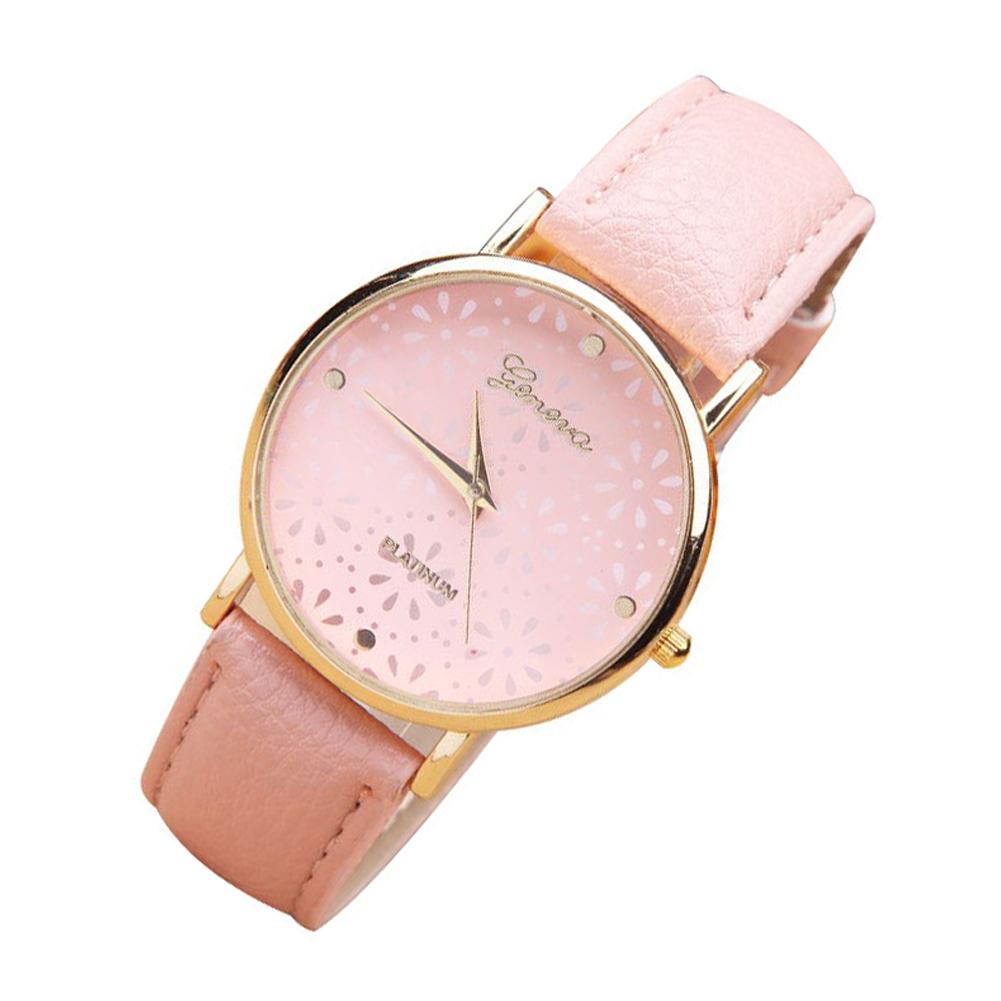 Hot Pretty Geneva Women's Ladies Flower Quartz Leather Band Bracelet Wristwatch