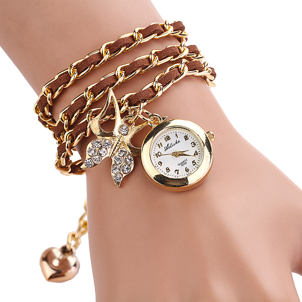 New Women Bowknot Pendant Bracelets Quartz Watch Heart Wristwatch Gift