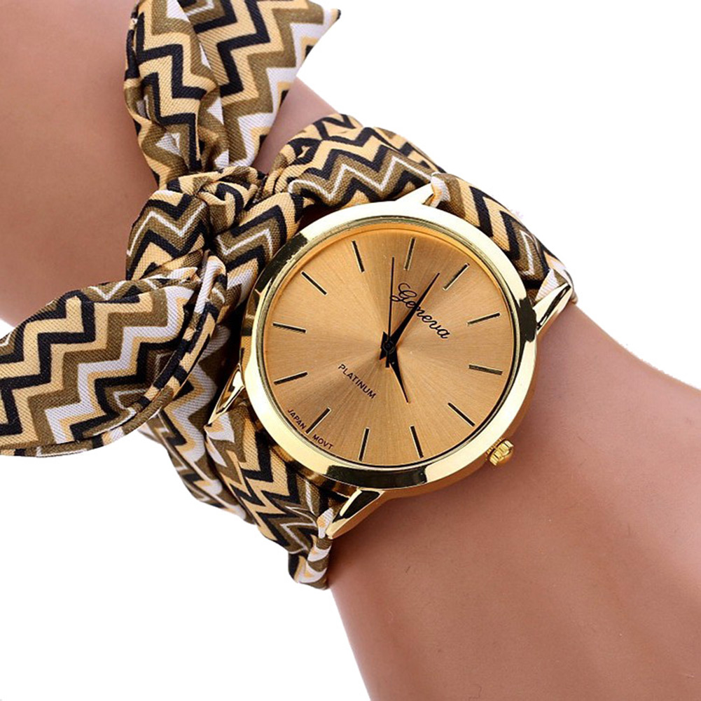 Simple Women Casual Watches Wave Pattern Floral Cloth Watch Wristwatch